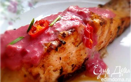 Рецепт Семга на гриле с соусом из брусники