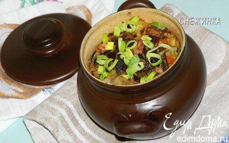 Рецепт «Пражанина» (Мясо с овощами, черносливом и грибами в горшочках)