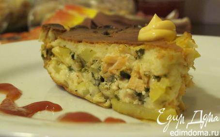 Рецепт Домашний пирог с семгой, картофелем и зеленью