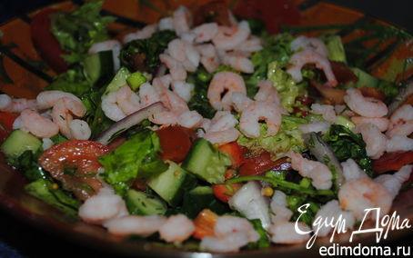 Рецепт Овощной салат с креветками