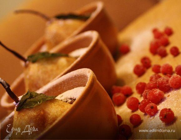 Шоколадные кексы с грушами и сливочным сыром