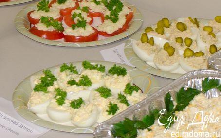 Рецепт Яйца фаршированные тунцом и лососем