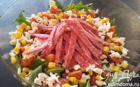 Рецепт Лёгкий салат с салями