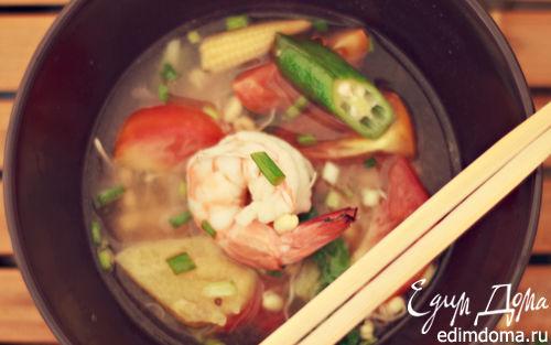 Рецепт Вьетнамский супчик с креветками и ананасом