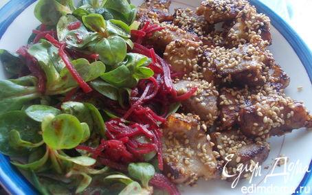 Рецепт Свинина, маринованная в меде, с освежающим салатиком