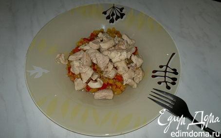 Рецепт Чечевица с сладким перцем и чесноком и куриная грудка с зирой и кориандром