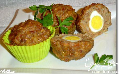 Рецепт Маффины мясные с перепелиными яйцами