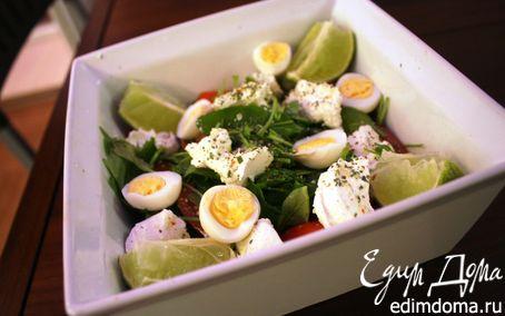 Рецепт Салат с тунцом, перепелиными яйцами и черри