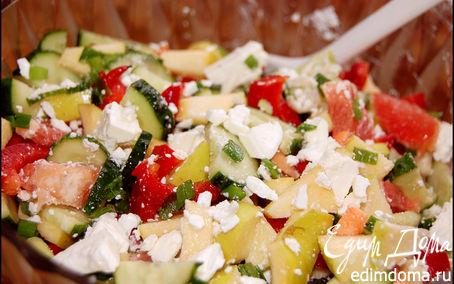 Рецепт Фруктово-овощной салат с брынзой