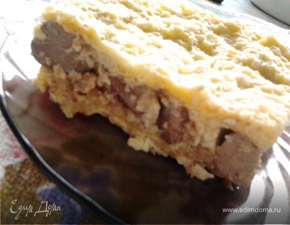 Суфле из куриной печени в вафельных коржах
