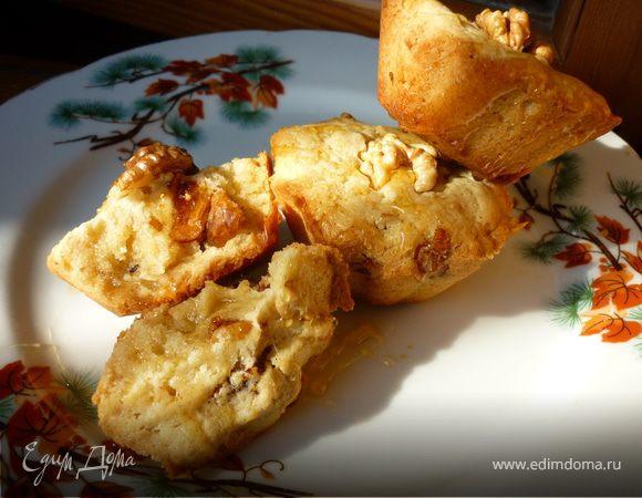 Медовые кексы с грецкими орехами, инжиром и бананами