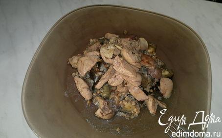 Рецепт Острая гречневая каша с баклажаном, имбирем и чесноком, печень кролика с кориадром