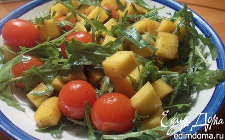 Рецепт Салат из руколы, томатов черри и манго