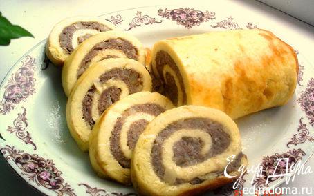 Рецепт Сырно-яичный рулет с фаршем