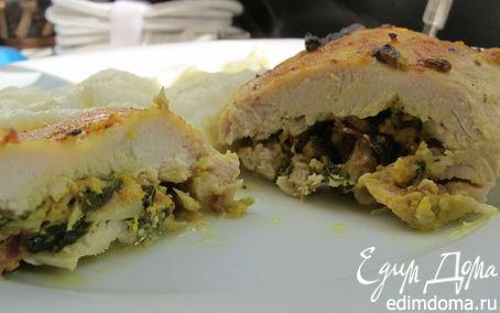 Рецепт Куриное филе с творогом, шпинатом и карри