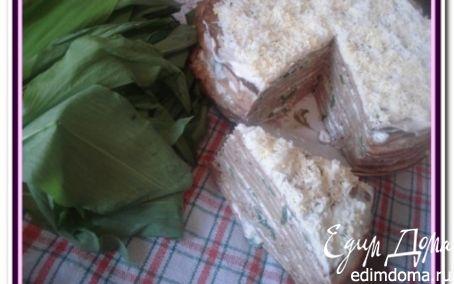 Рецепт Печеночный торт и печеночные рулеты с черемшой
