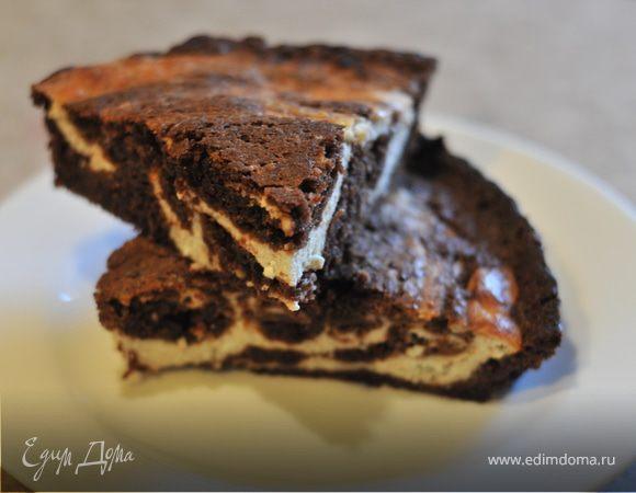 Шоколадно-творожный мраморный кекс