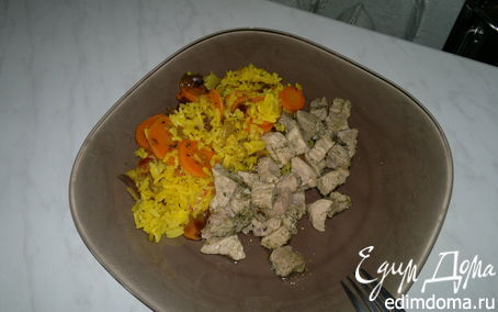 Рецепт Рис с морковью в восточном стиле и свиная лопатка с кавказскими травами