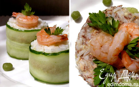 Рецепт Роллы с тунцом и креветками + бонус Суши-салат
