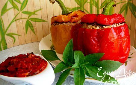 Рецепт Фаршированные болгарские перцы с томатным соусом в мультиварке