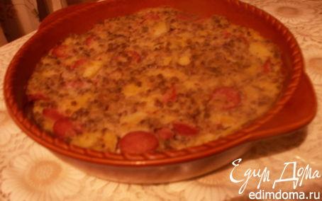 Рецепт Запеканка из риса, гречки и картофеля с колбасками