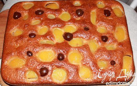 """Рецепт Пирог с персиками и вишней в шоколаде """"Леди"""""""