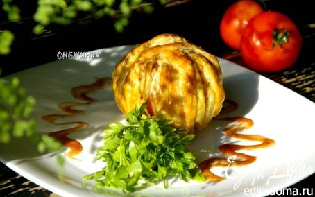 """Рецепт """"Клубок"""" из куриного филе с фаршированным помидором"""
