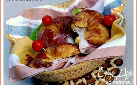 Рецепт Бутербродные круассаны с расстойкой в холодильнике