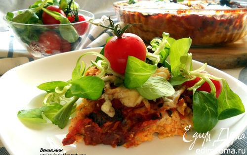 Рецепт Лазанья из ржаных блинчиков с курицей, томатами и базиликом