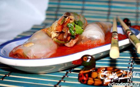 Рецепт Вьетнамские рисовые блинчики в кисло-сладком соусе