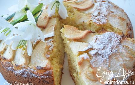 Рецепт Пышный яблочно-творожный пирог