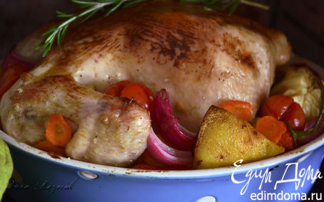 Рецепт Горчично-медовая курица с овощами и розмарином