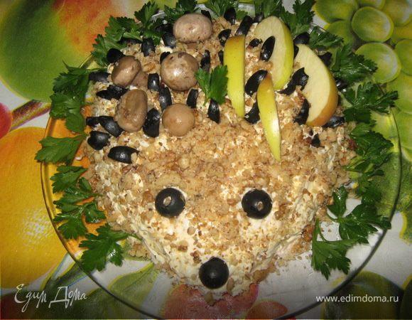 фото рецепт салат ежик с грибами
