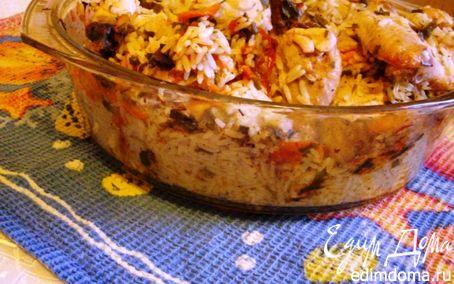 Рецепт Запечённая курица с рисом и овощами