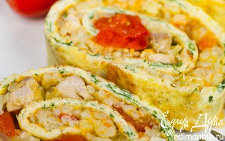 Рецепт Яичный рулет с курицей и рисом