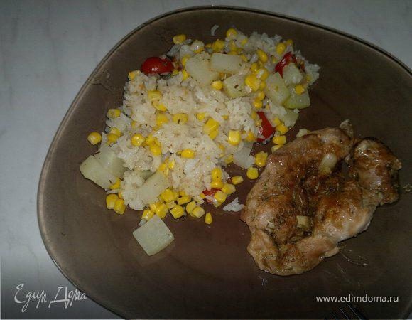 Рисовое рагу с овощами и запеченное бедро индейки в панировке из ржаной муки