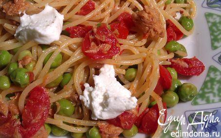 Рецепт Спагетти с тунцом, свежим горошком и помидорами