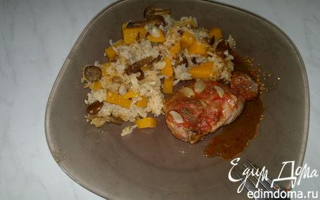 Рецепт Индюшачьи бедра с томатами и чесноком, рис с тыквой и опятами