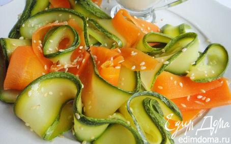 Рецепт Тушёные морковь и цукини под сливочным соусом
