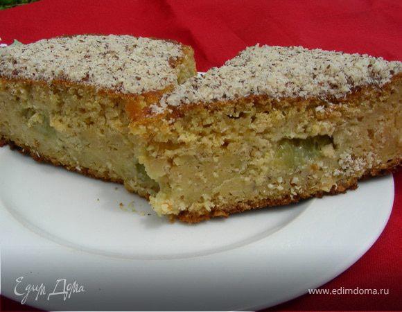 Пирог с ревенем, овсяными хлопьями и кукурузной мукой