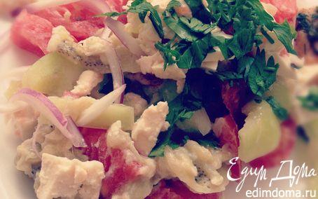 Рецепт Салат с баклажанами, чесноком и адыгейским сыром