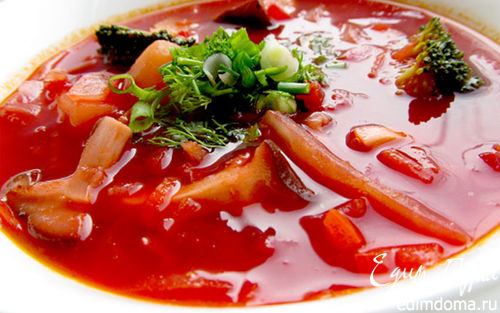 Рецепт Вегетарианский борщ с грибами и брокколи