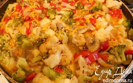Рецепт Разноцветные овощи на сковородке