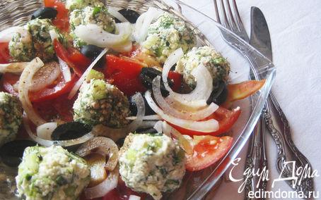 Рецепт Салат из огуречно-брынзовых шариков и помидоров