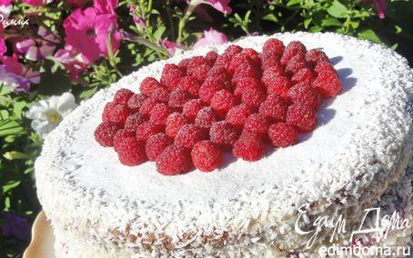 Рецепт Миндальный торт с белым шоколадом и малиной