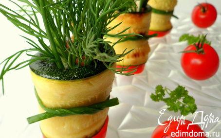 Рецепт Горшочки с зеленью (цукини с овощами, куриной грудкой и зеленью)