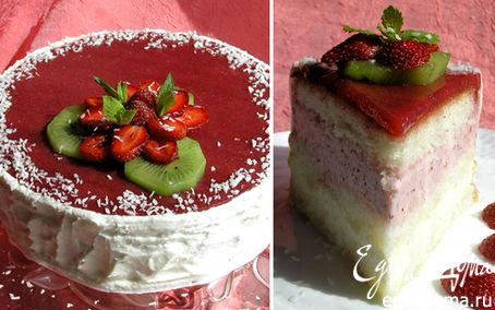 Рецепт Клубнично-мятный баварский торт