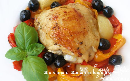 Рецепт Курица с овощами и оливками