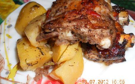 Рецепт Картошка с ребрышками в духовке