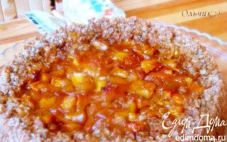 Рецепт Овсяный пирог с творожным кремом и фруктами в карамели